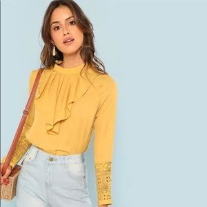 Tops - Boho Blouse w/ Lace Cuffs and Flounce Neck 🌼🌷
